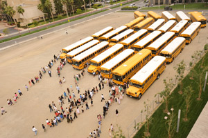 Buses arrive for the Class Act Youth Concerts